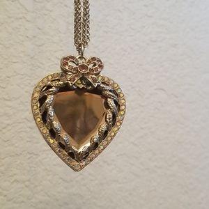 Betsy Johnson Purple mirrored Heart necklace